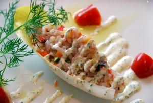 いすみ米と7種類の野菜のサラダ